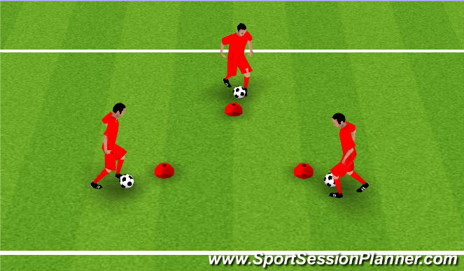Football/Soccer Session Plan Drill (Colour): Screen Coerver Triangle Technical Game1