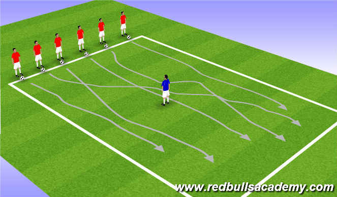 Football/Soccer Session Plan Drill (Colour): RWB Opposed