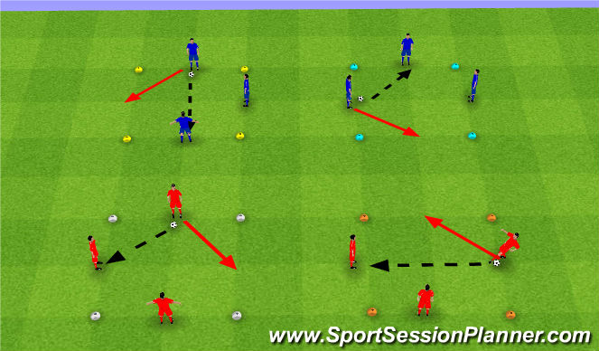 Football/Soccer Session Plan Drill (Colour): Warm Up + Bolcked