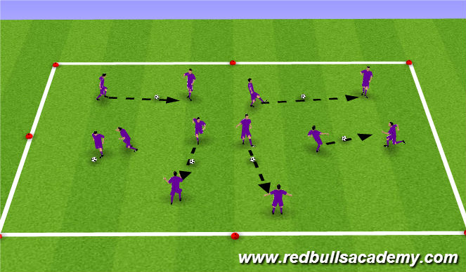 Football/Soccer Session Plan Drill (Colour): Defending - Warm up/ 1v1