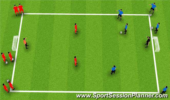 Football/Soccer Session Plan Drill (Colour): 3 v 2 + 1 Transition