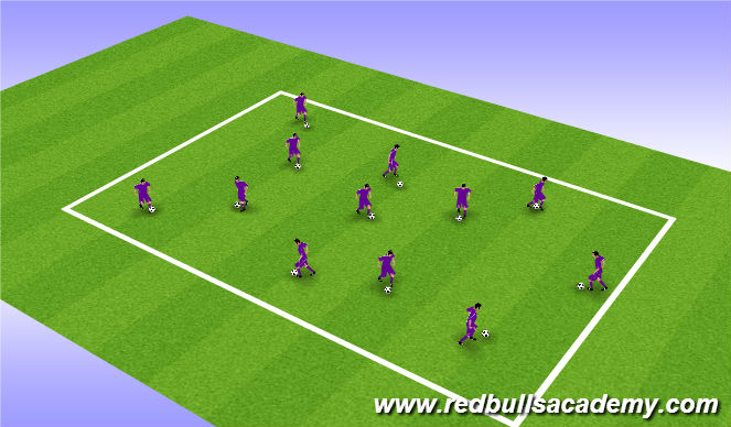 Football/Soccer Session Plan Drill (Colour): Ball Mastery - 9 lives