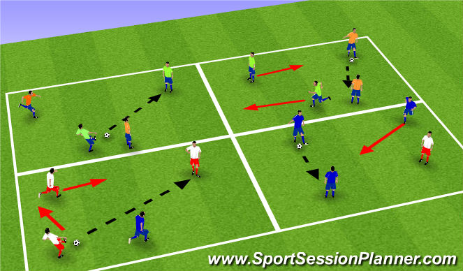 Football/Soccer Session Plan Drill (Colour): 1/2 grid