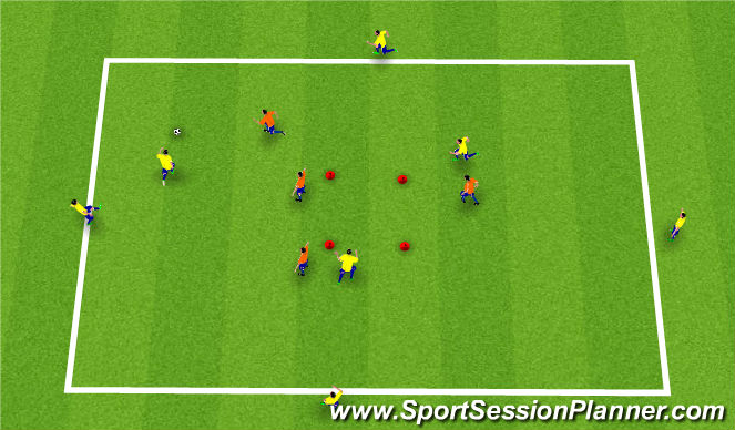 Football/Soccer Session Plan Drill (Colour): 7 á móti 4.