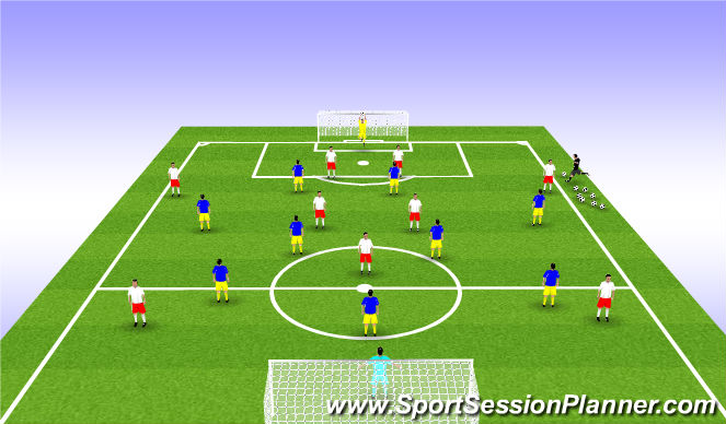 Football/Soccer Session Plan Drill (Colour): 10v10