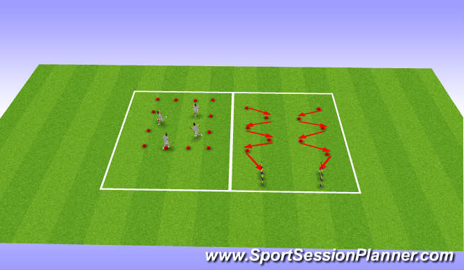 Football/Soccer Session Plan Drill (Colour): Squat/lunge + multidirectional speed