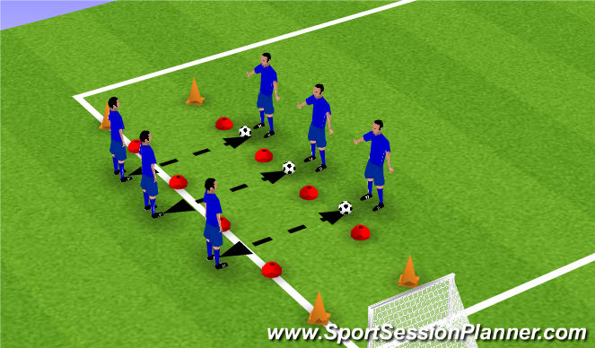 Football/Soccer Session Plan Drill (Colour): Passen