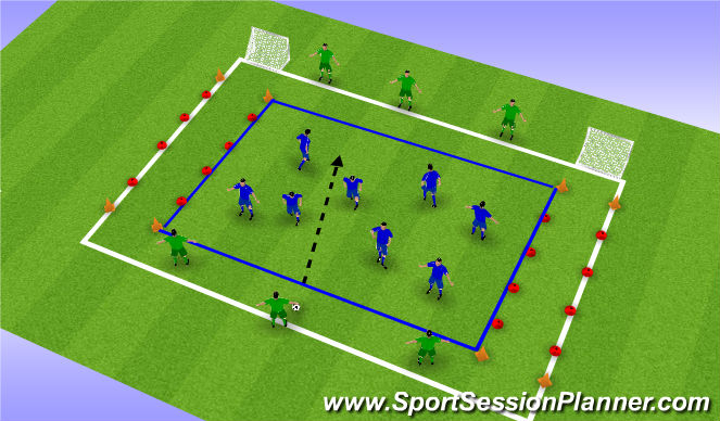 Football/Soccer Session Plan Drill (Colour): Papa's tegen de mini's