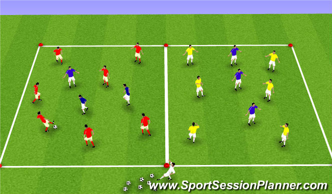 Football/Soccer Session Plan Drill (Colour): Basic possession 1