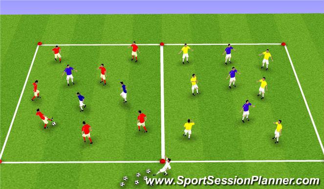 Football/Soccer Session Plan Drill (Colour): Basic possession 1