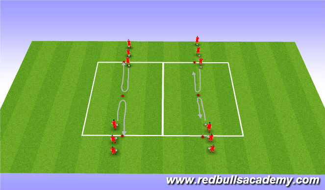 Football/Soccer Session Plan Drill (Colour): Warm Up: Turning Technique