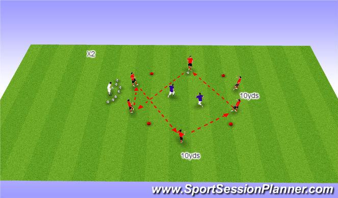 Football/Soccer Session Plan Drill (Colour): Short passes opposed .