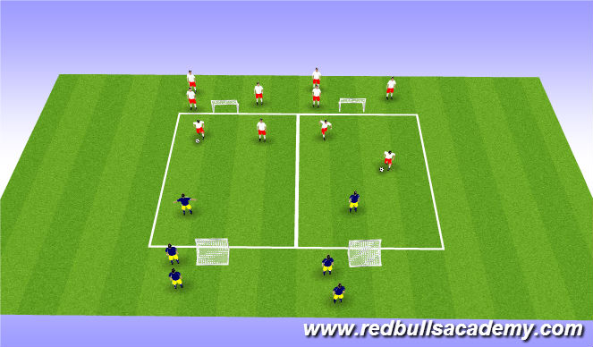 Football/Soccer Session Plan Drill (Colour): Main Theme: 2v1 (Fully Opposed)