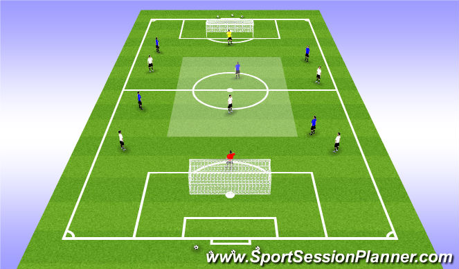 Football/Soccer Session Plan Drill (Colour): 6v6 Conditioned