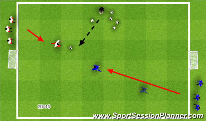 Football/Soccer Session Plan Drill (Colour): SSG two goals