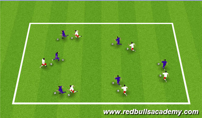 Football/Soccer Session Plan Drill (Colour): Warm Up - Dribbling