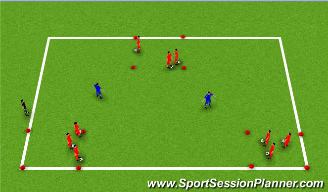 Football/Soccer Session Plan Drill (Colour): Pickle Tag with Ball