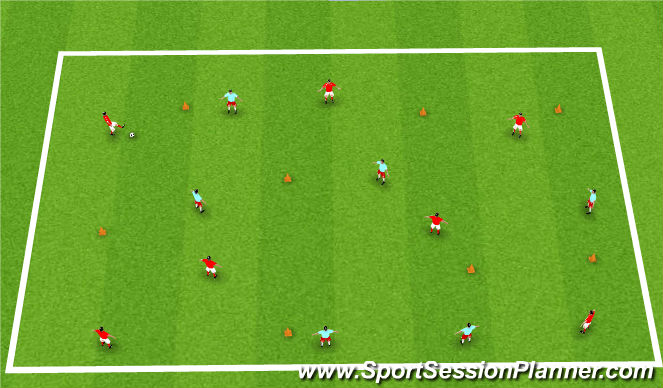Football/Soccer Session Plan Drill (Colour): Snowcone passing