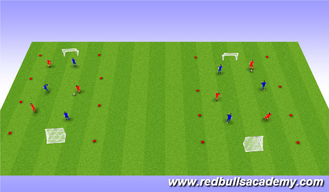 Football/Soccer Session Plan Drill (Colour): Free Play: 3v3