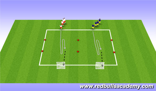 Football/Soccer Session Plan Drill (Colour): Main Theme 2 - Turning - Semi-Opposed