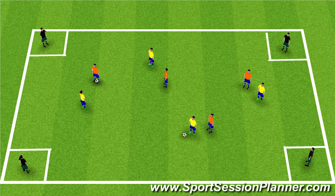 Football/Soccer Session Plan Drill (Colour): 4 á 4 + 4: