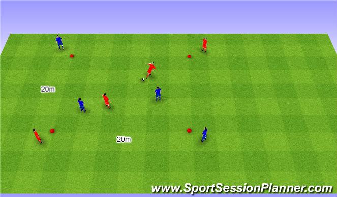 Football/Soccer Session Plan Drill (Colour): 2v2 possesion game. 2v2 na utrzymanie (20')