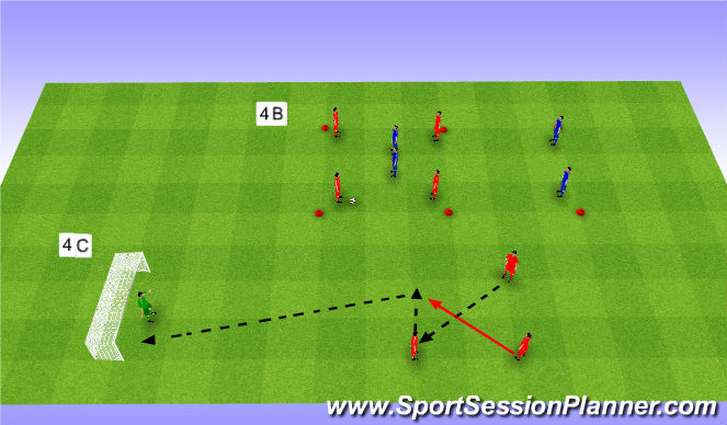 Football/Soccer Session Plan Drill (Colour): Tactics. Taktyka.