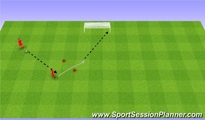 Football/Soccer Session Plan Drill (Colour): Control and shoot. Przyjęcie i strzał.