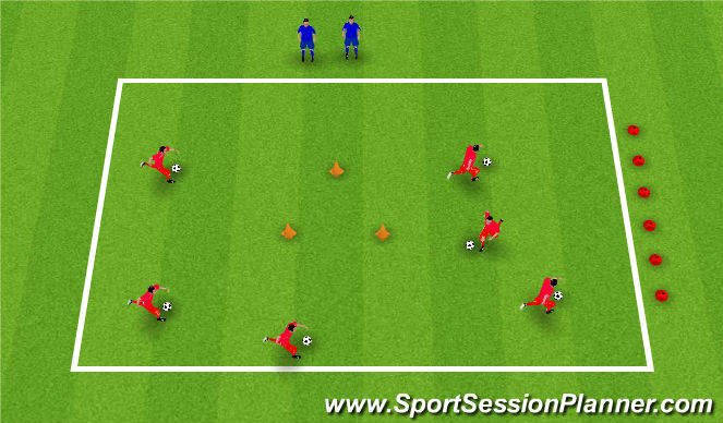 Football/Soccer Session Plan Drill (Colour): Cops and Robbers Shielding Game