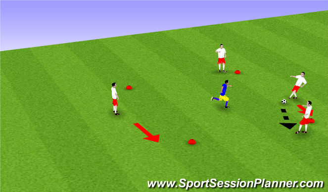 Football/Soccer Session Plan Drill (Colour): 4v1 & 3v1