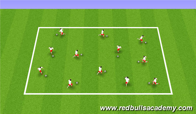Football/Soccer Session Plan Drill (Colour): Ball mastery/Warm-up