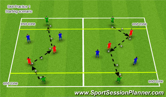 Football/Soccer Session Plan Drill (Colour): Nuno Rosa Passing/Supporting Skill Practice 1