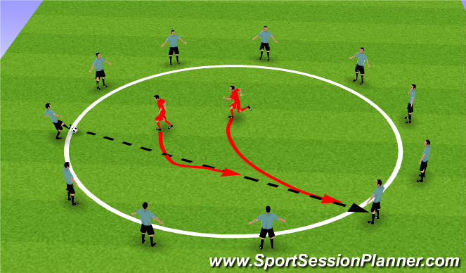 Football/Soccer Session Plan Drill (Colour): Warm Up - Phase 1