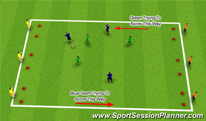 Football/Soccer Session Plan Drill (Colour): Goals 'R' Us!