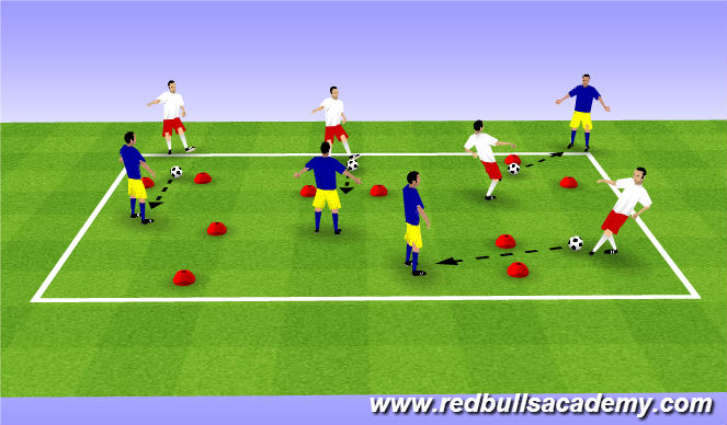 Football/Soccer Session Plan Drill (Colour): Warm up - Pass thru cones