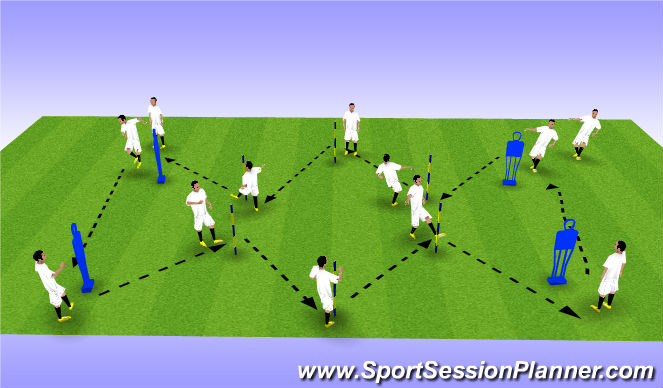 Football/Soccer Session Plan Drill (Colour): Phase 1: Warm-up