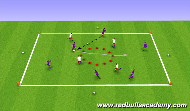 Football/Soccer Session Plan Drill (Colour): 'Break in' overload game