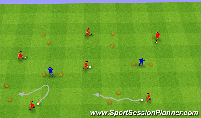Football/Soccer Session Plan Drill (Colour): Gates Dribbling