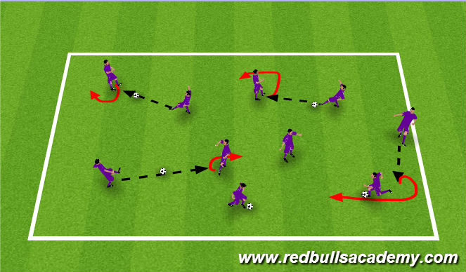 Football/Soccer Session Plan Drill (Colour): Receiving and Turning warm up