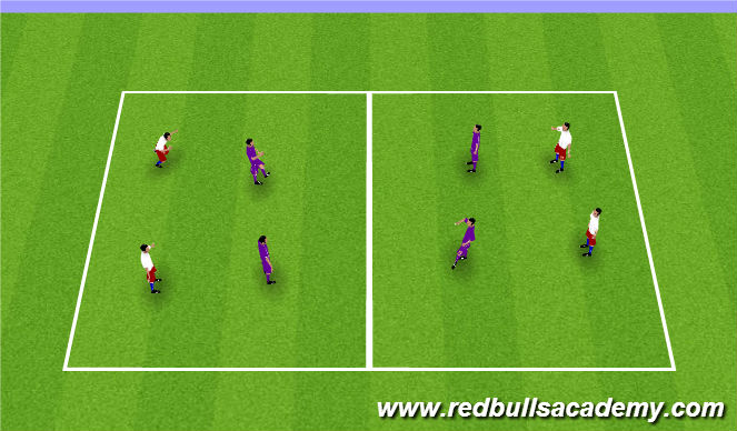 Football/Soccer Session Plan Drill (Colour): 4v4 game plus end game