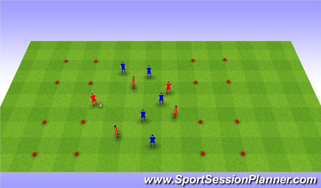 Football/Soccer Session Plan Drill (Colour): 4 square games. Gra na 4 kwadraty