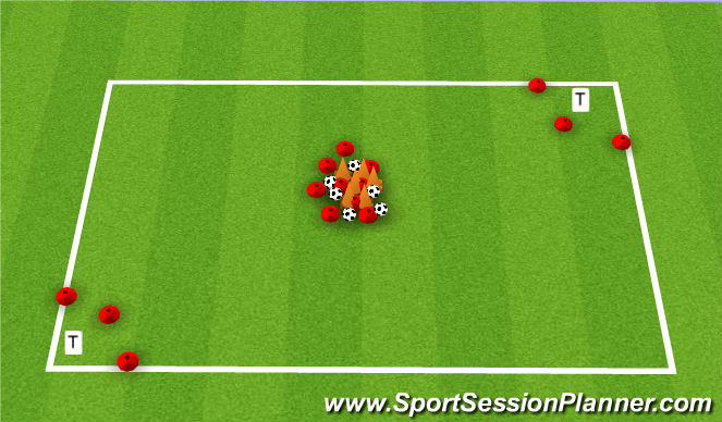 Football/Soccer Session Plan Drill (Colour): Treasure Hunt