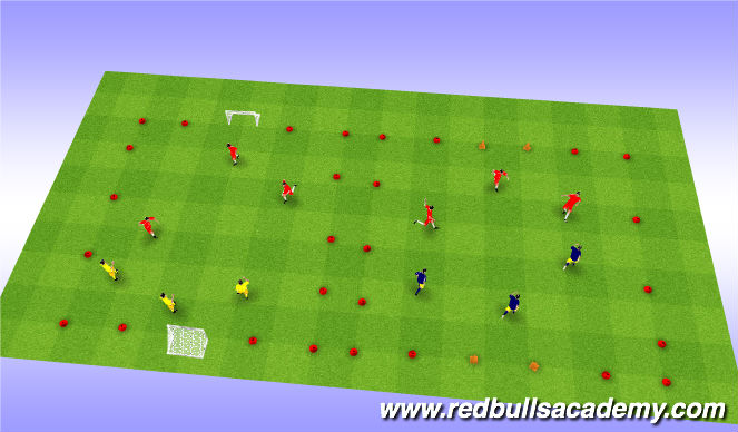 Football/Soccer Session Plan Drill (Colour): 3 v 3 game