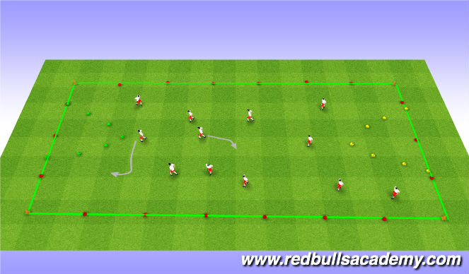 Football/Soccer Session Plan Drill (Colour): International Space Station (red light/green light)-