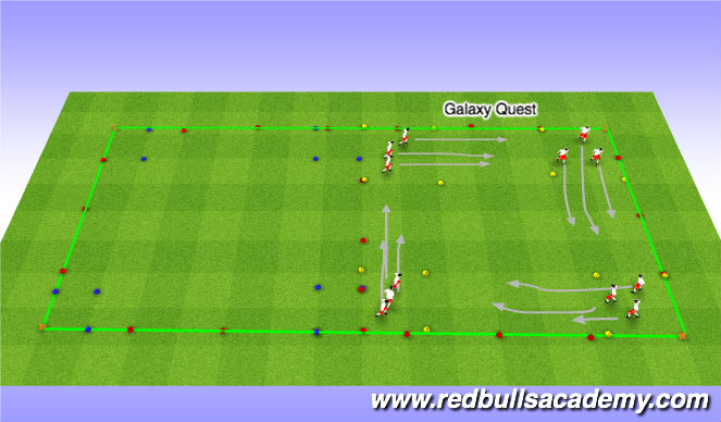 Football/Soccer Session Plan Drill (Colour): Galaxy-Quest