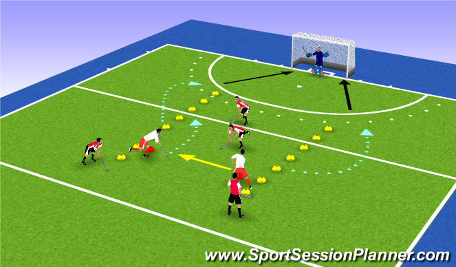 Hockey Session Plan Drill (Colour): Organizacja w obronie 2x2