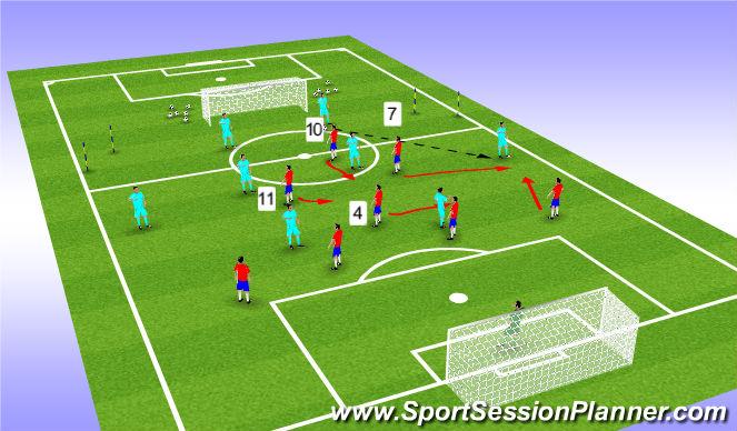 Football/Soccer Session Plan Drill (Colour): Diamond midfield