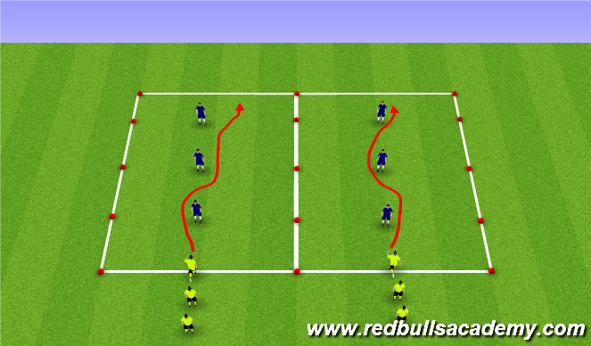 Football/Soccer Session Plan Drill (Colour): Guantlet 1