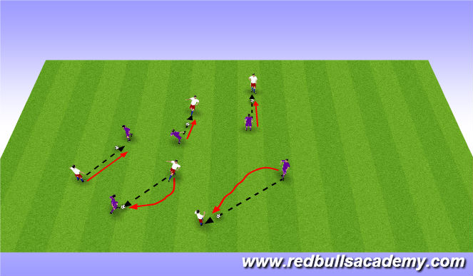 Football/Soccer Session Plan Drill (Colour): 1v1 Passive Warm up