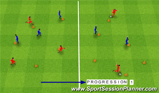 Football/Soccer Session Plan Drill (Colour): Cone Race